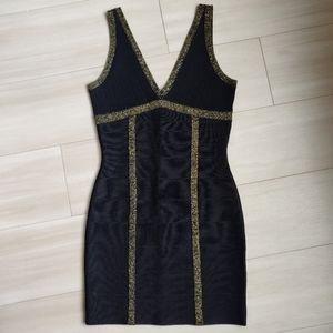 Black and Gold Bandage Mini Dress